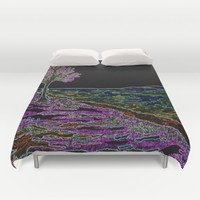 Purple Tree by Lake Duvet Cover by ES Creative Designs