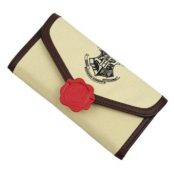 New Vintage Harry Potter Letter Hogwarts Long Wallet Brand Design High Quality Canvas Female HASP Fashion Long Purse Card Holder