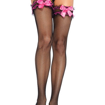Fishnet Thigh Highs with Neon Pink Satin Bow Garter Top in