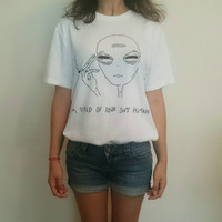 New Women Tshirt 18 Style Smoking Alien Print Funny Casual ET T-shirt For Lady White Plus Size Top Tees Hipster  WMT111