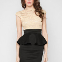 Laced with Love Dress in Almond :: tobi