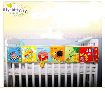 Educational Toy 125*25 cm  Bed Bumper Baby Toys Baby Crib bumper Cloth Book Baby Rattles Around Multi-Touch Colorful for Kids