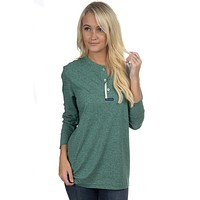 Long Sleeve Boyfriend Tee in Heathered Green by Lauren James - FINAL SALE