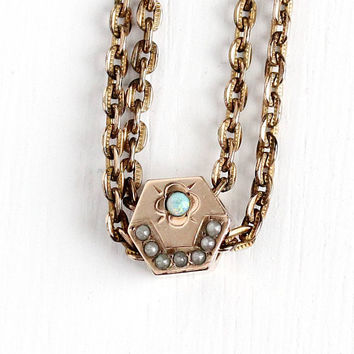 Antique Gold Filled Opal & Seed Pearl Hexagonal Slide Charm Necklace - Vintage Victorian Fob Pocket Watch Chain Star Moon Pendant Jewelry