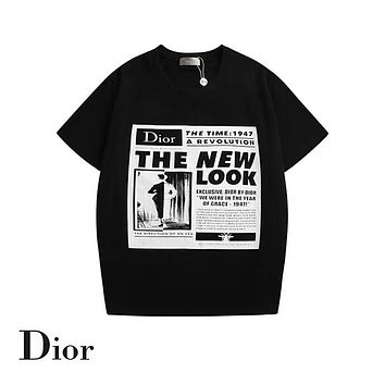 DIOR 2019 early spring new tide brand men and women round neck short-sleeved T-shirt Black