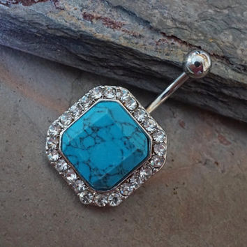 Belly Button Rings Square Turquoise Gemstone Belly Ring