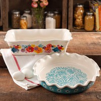 "The Pioneer Woman Flea Market Decorated 9"" Ruffle Top Pie Plate and 2.3-Quart Ruffle Top Bakeware - Walmart.com"