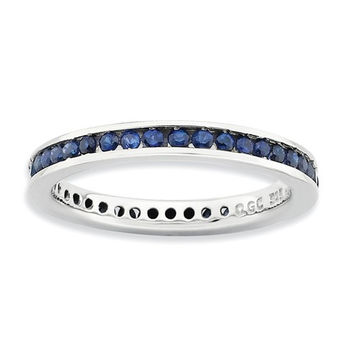 Sterling Silver Stackable Expressions Channel Set Created Blue Sapphire Eternity Ring
