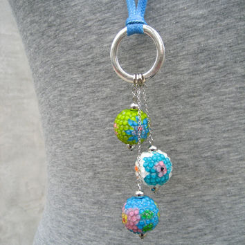 Floating Bubble Necklace - Blue And Green Colorful Long Necklace