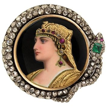 Antique Enamel and Diamond Brooch Portraying Cleopatra