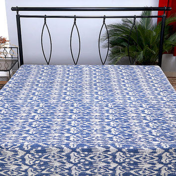 On Sale Queen Kantha Quilt // Blue Ikat Bedspread // King Size Bedding, Kantha Quilt, Ikat Quilt, Ikat Blanket Throw, Ikat Kantha Bed Cover
