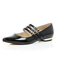 Black multi strap shoes - flat shoes - shoes / boots - women