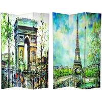 Oriental Furniture CAN-PARIS3 Six Ft. Tall Double Sided Paris Room Divider, Width - 48 Inches