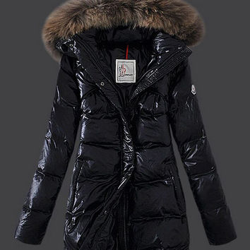 Fur Hood Zip Up Striped Padded Long Coat