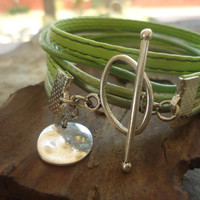 LEATHER MIX in GREEN Leather & Cotton Wrap Bracelet