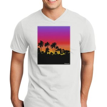 Palm Trees and Sunset Design Adult V-Neck T-shirt by TooLoud