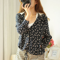 Lace anchor hooded sweater AD813FB