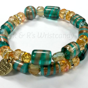 Topaz and Turquoise Bracelet Alex and Ani Inspired Custom Handmade Jewelry Round Seed Beads