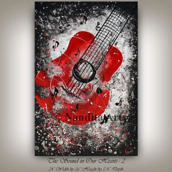 Red Guitar Painting, Music Art On Canvas By Nandita Albright Amazing unique Wall Art oil painting, Framed Canvas, 36x24 inch(91cm x60cm)