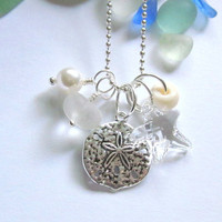 White Sea Glass Necklace: Beach Wedding