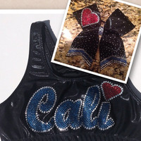 Cali Sports Bra and bow combo or choose only sports bra or only bow.  Or design your own with your team name