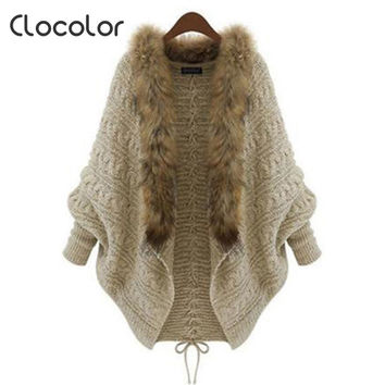 Clocolor Bat Sleeve Lace-Up Knitting Cardigan Sweater Women Autumn Long Sleeve Sweater Outwear Casual Solid Knitwear Cardigans