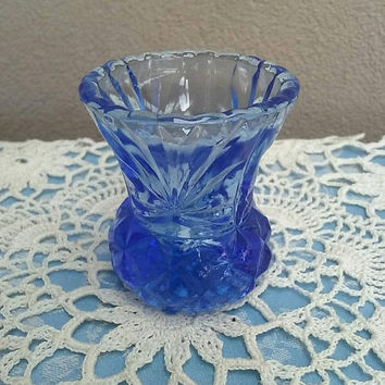 Vintage Blue Thistle Bud Vase Pressed Glass Vintage Depression Glass