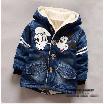 1-6Years/2016 spring autumn kids girls jackets coats Denim children coat brand baby clothing kids clothes Mickey coat jacket