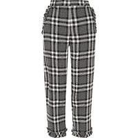 Black check frill hem cropped trousers
