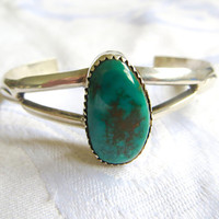 Vintage Navajo Cuff Bracelet, Old Pawn Sterling Silver Turquoise, Vintage Native American Jewelry Old Pawn