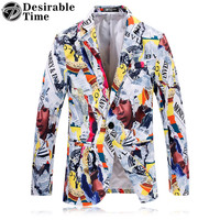 Colorful Printed Blazers for Men Fashion Clothing Slim Fit Men Prom Stage Wear Blazers Jacket