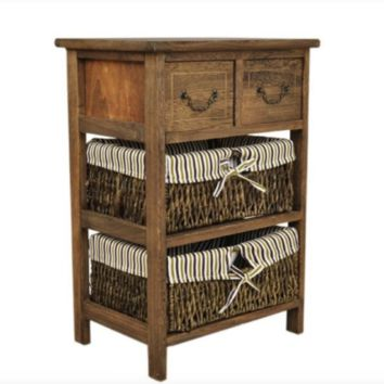 Country-Style  Cottage 3 Layers Bedside Table Vintage with 2 baskets 2 Drawers