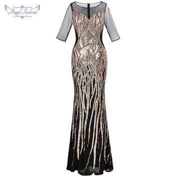 2cc7b91d4bcc98 Angel-fashions Sheer 1920s Vintage Sequin Flapper Gatsby Illusio
