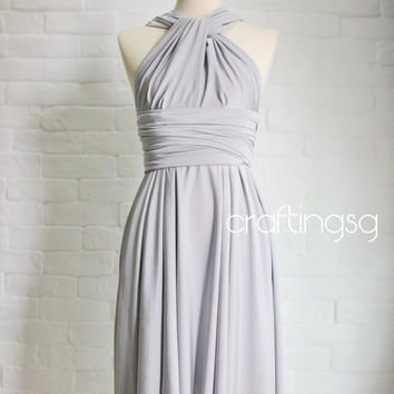 Bridesmaid Dress Infinity Dress Gray/Silver Knee Length Wrap Convertible Dress Wedding Dress