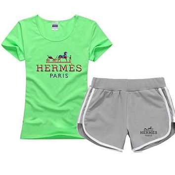 Trendsetter Hermes Women Men Casual Sport T-Shirt Top Tee Shorts Set Two-Piece