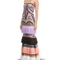 Naeem Khan Crocheted Tier-Fringe Halter Gown