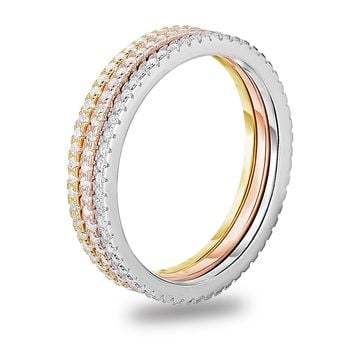 Stackable Eternity Wedding Band Diamond Simulant CZ Sterling Silver Ring