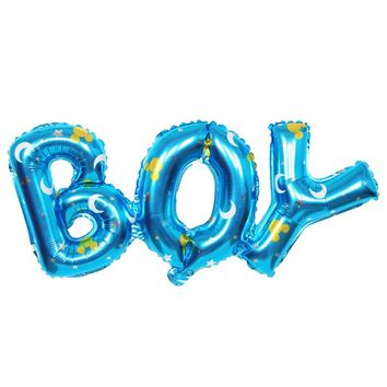 """Fun Blue """"Boy"""" 35in Moon Design Inflatable Foil Balloon Party Decoration"""
