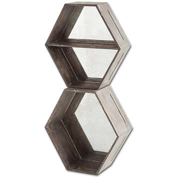 Stacked Hexagon Mirror Shelf, Wall Shelving & Brackets
