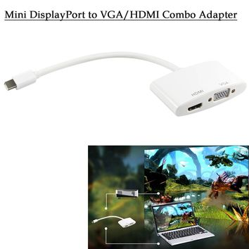 ELEGIANT Mini Display Port DP to HDMI VGA Dual Converter Adapter Cable Compatible for Apple Mac Air Mac Book Pro Mac 13 15 17 inch Surface Pro (White)