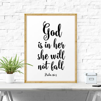 Typography Poster, God is Within Her She Will Not Fall - Psalm 46:5, Bible Verse Print, Wall Decor, Calligraphy, Scandinavian Print