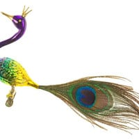 "7"" Crowned Peacock Ornament, Green, Ornaments"