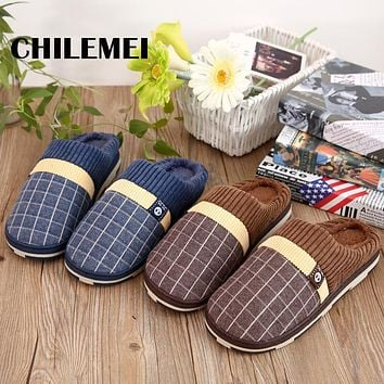 Men's Gingham Fur slippers