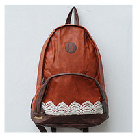 Fashion Brown Lace Backpack