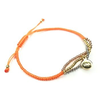 Orange Macrame Bracelet Kid Size with Love Charm and MultiColored Beads