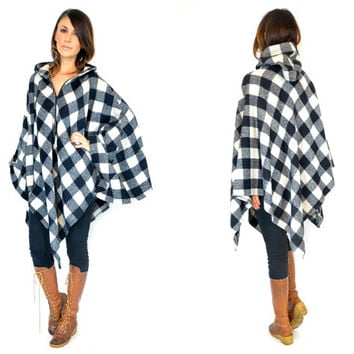 draped BUFFALO CHECK lumberjack rustic woodland HOODED poncho cape coat, one size fits most
