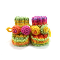 Hand Knitted Baby Booties - Spring Colors, 0 - 6 months