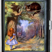 Alice in Wonderland  Cheshire Cat  Metal Cigarette Case or Wallet  No. 129