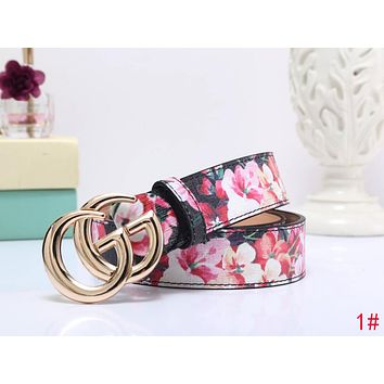 "Hot Sale ""GUCCI"" Popular Woman Men Smooth Buckle Flower Print Belt Leather Belt 1# I-MYJSY-BB"