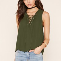 Chiffon Lace-Up Top